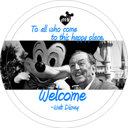 Walt & Mickey Welcome Button