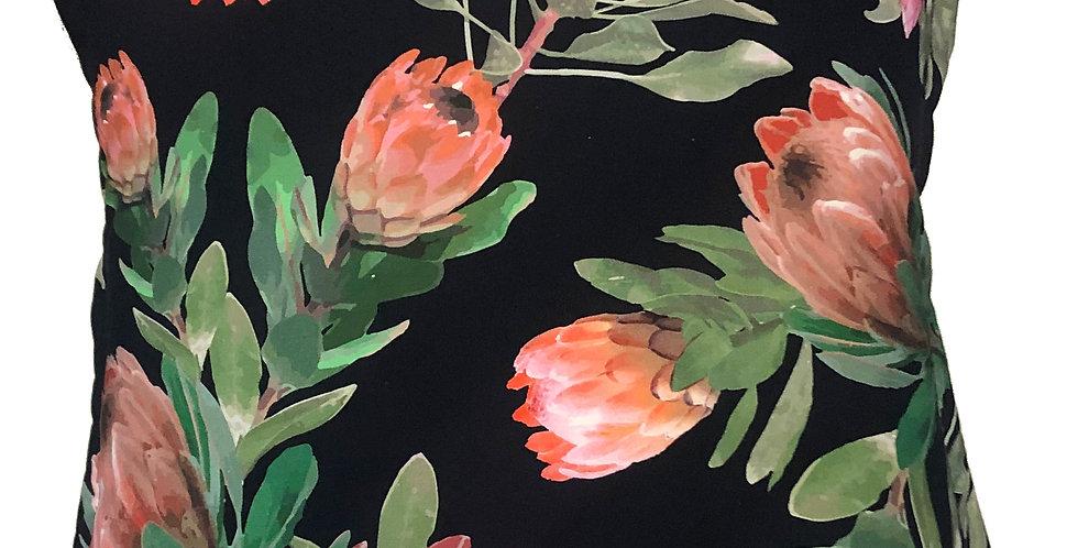 Black Pink Protea Cushion