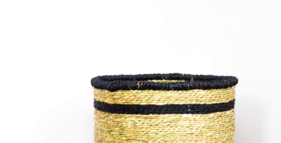 Natural Thin Blue Rim Basket - Large