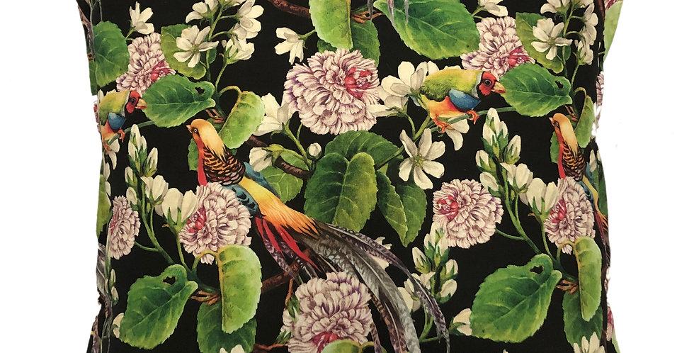 Birds of Paradise Black Cushion