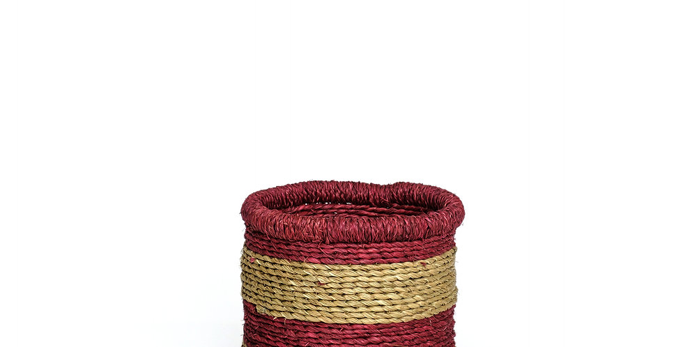 Natural Thick Red Rim Basket - Small