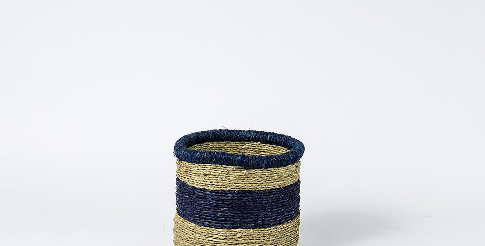 Natural Thick Blue Rim Basket - Small