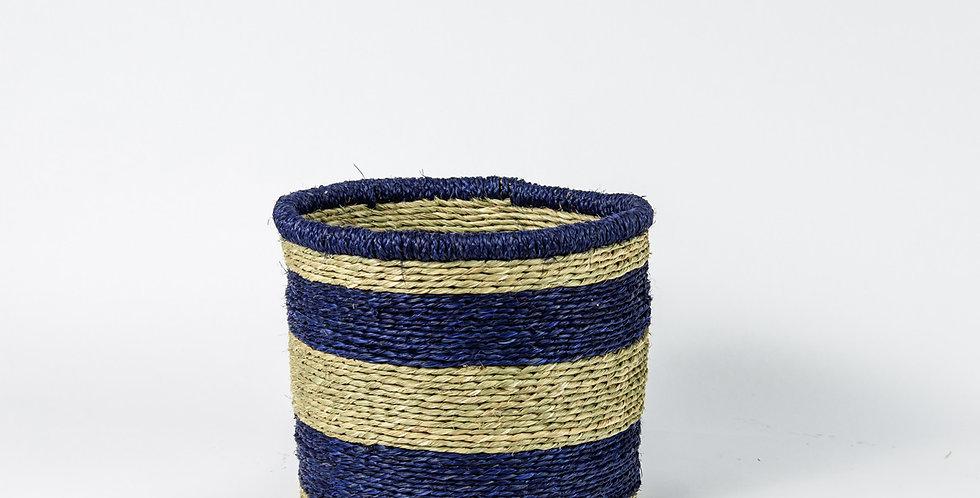 Natural Thick Blue Rim Basket - Medium