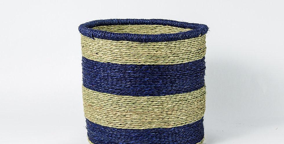 Natural Thick Blue Rim Basket - Large