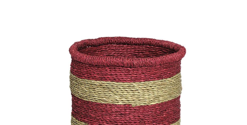 Natural Thick Red Rim Basket - Large