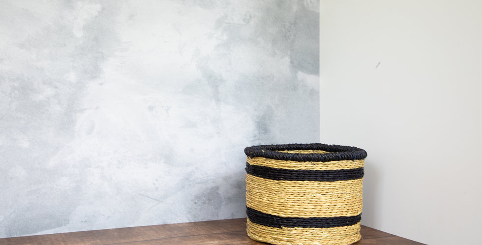 Natural Thin Blue Rim Basket - Small