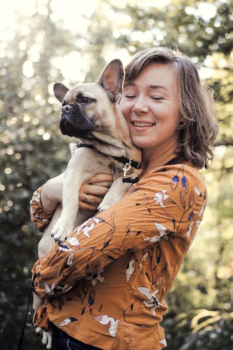 Portrait couple petit chien Bretagne