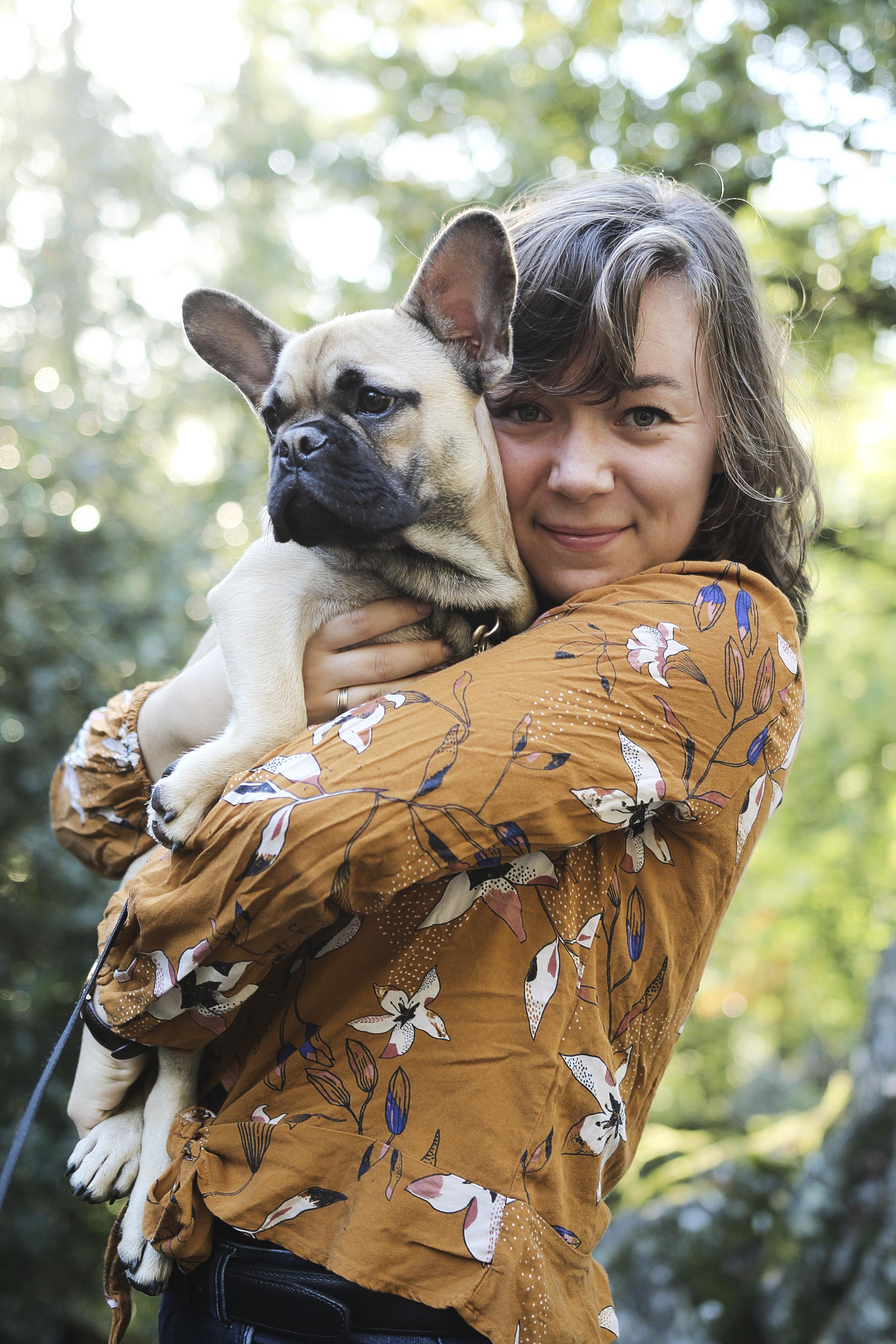 Portrait femme et chien Bretagne