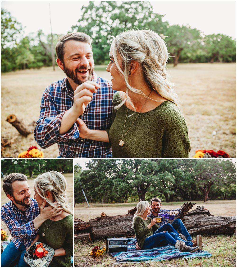 Camping picnic engagement session