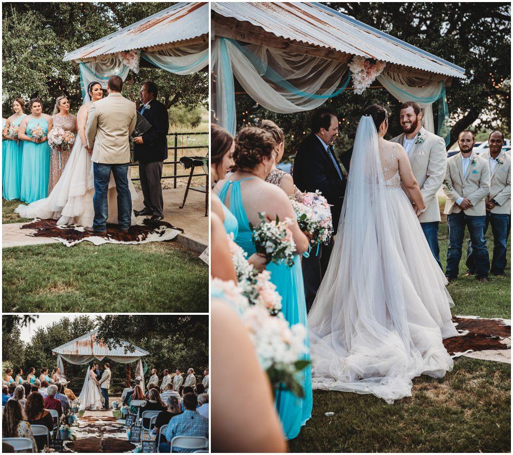 Wedding day ceremony blue