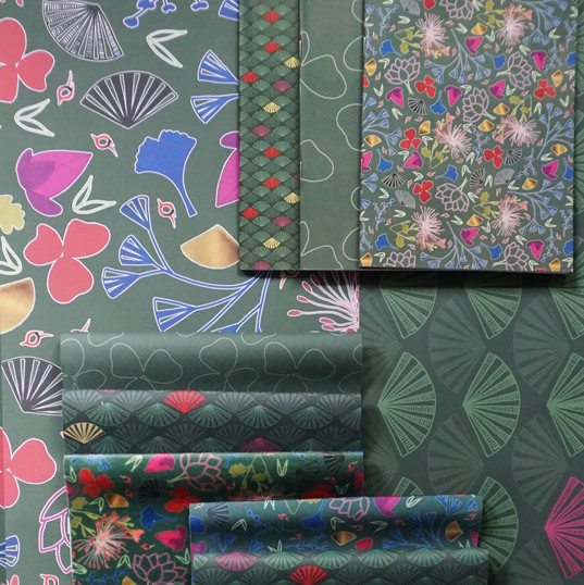 Kabuki notebooks, wrapping paper and fabric samples
