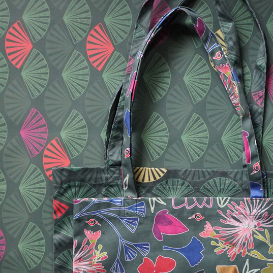 kabuki fabric tote bags on wrapping paper