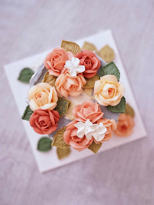 Oil painting finish with edible roses (6inch)