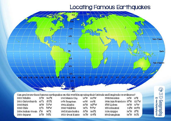 location of earthquakes worksheet