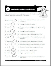 weather for kids worksheets