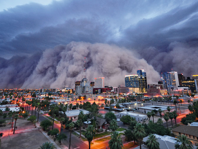 Dust storm over a city