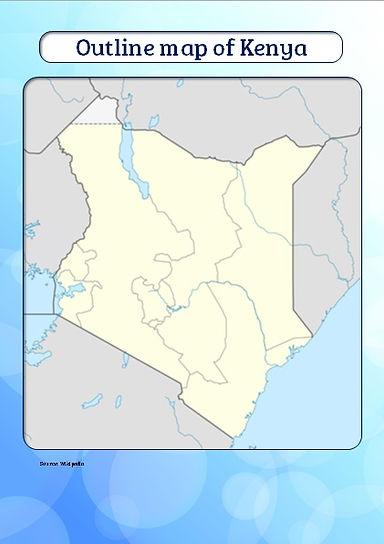 blank map of kenya for kids