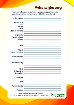 volcano words | volcano vocabulary | volcano worksheet