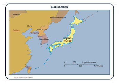 map of japan with close neighbours for use in schools