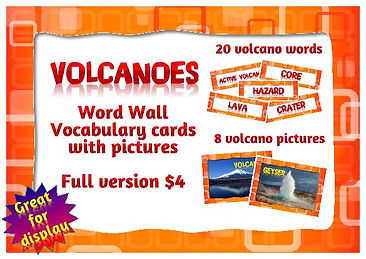 Free volcano lettering for class displays