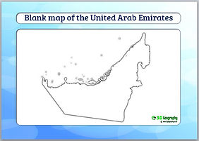 blank map of UAE | outline map of UAE | UAE blank map | blank map of united arab emirates | geography for kids