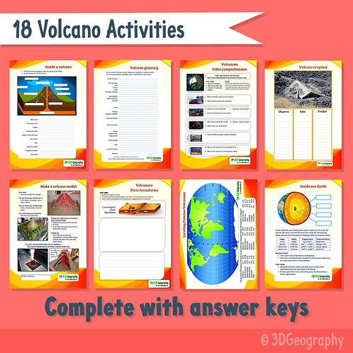 18 Volcano activities, with answer key.