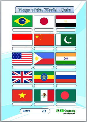 flag quiz | national flags quiz | flag worksheet | flags worksheets | geography quiz