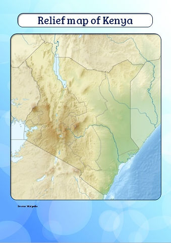 relief map of kenya for kids | map of rivers of kenya