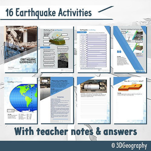 16 earthquake activities, complete with answer key
