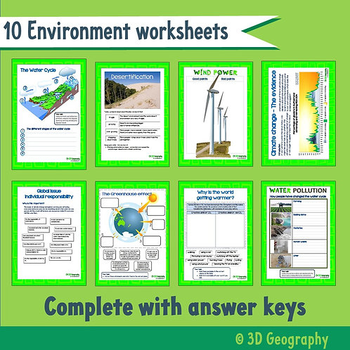 Environmental geography worksheets -10 activities