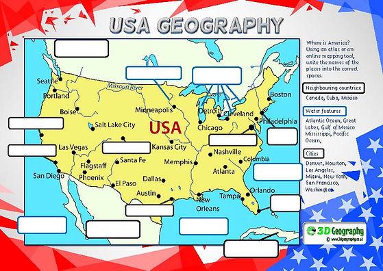 usa geography worksheet | map of america worksheet | america map worksheet