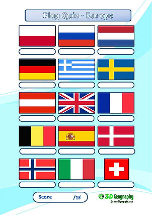 flag quiz | national flags quiz | geography test | flag worksheet | geography quiz | flags of europe worksheet