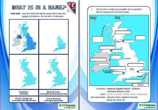 Geography of the UK worksheets