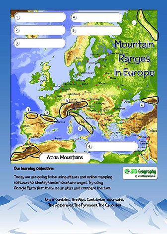 Mountain worksheets locating mountain ranges on maps gumiabroncs Images