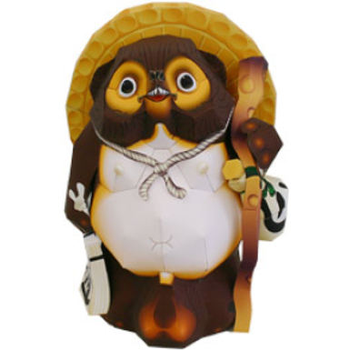Tanuki paper model to make at home | printable japanese paper model | downloadable japanese paper model