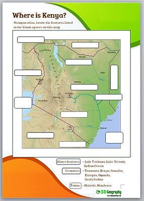 Kenya worksheets | geography of Kenya | kenya worksheets for kids