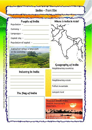 india factfile worksheet | india worksheets and activities
