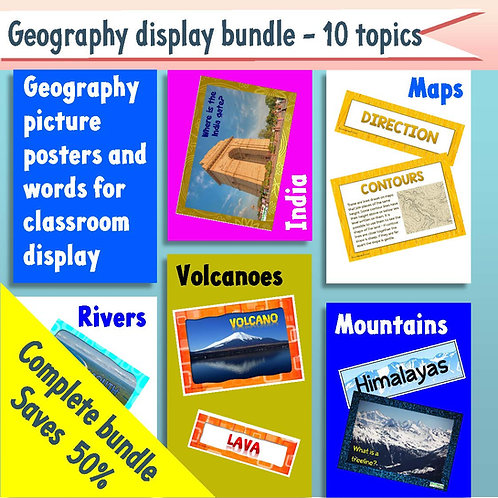 Geography displays bundle - 10 topics