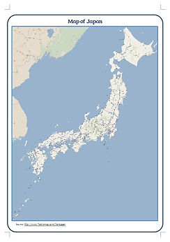 Japanese map with major cities