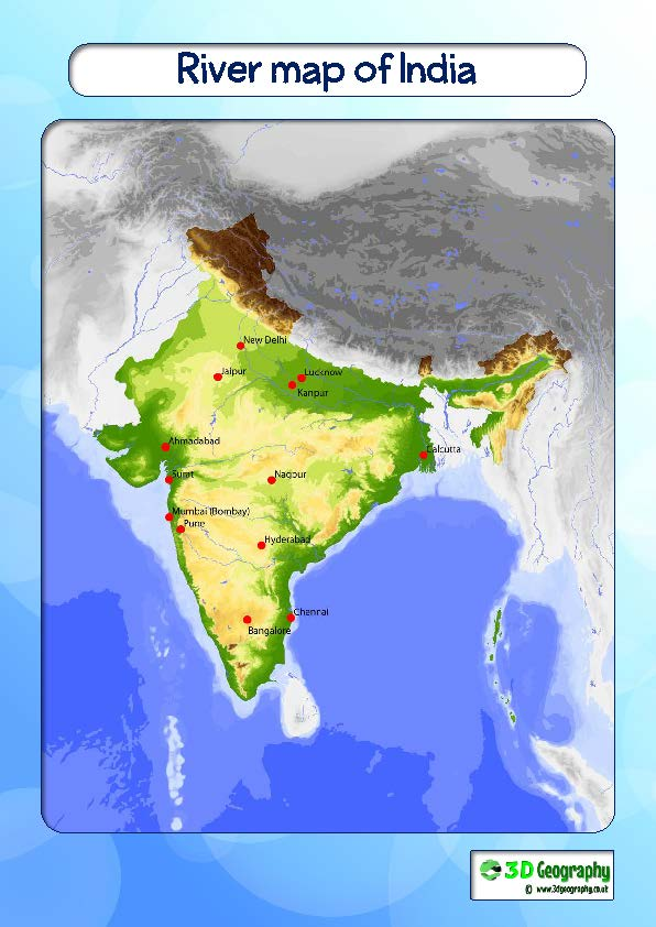 India Map Rivers And Mountains