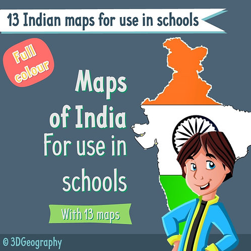 India maps for use in school