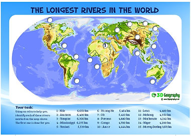 locating the world's major rivers | river worksheet