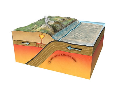 destructive plate boundary diagram | how is a volcano formed | volcano cross section
