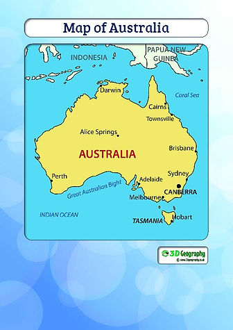australia map for kids | australia map with major cities