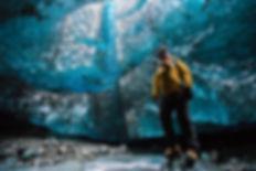 the inside of a glacier