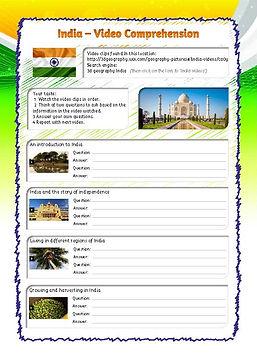 india worksheet for kids