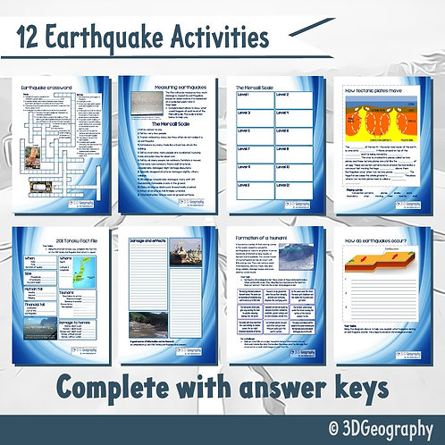 12 earthquake activities, complete with answer key
