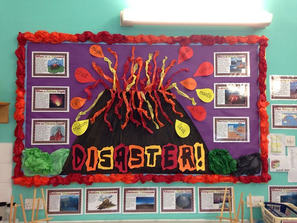 volcano display in classroom