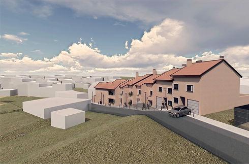 Vista frontal de las viviendas