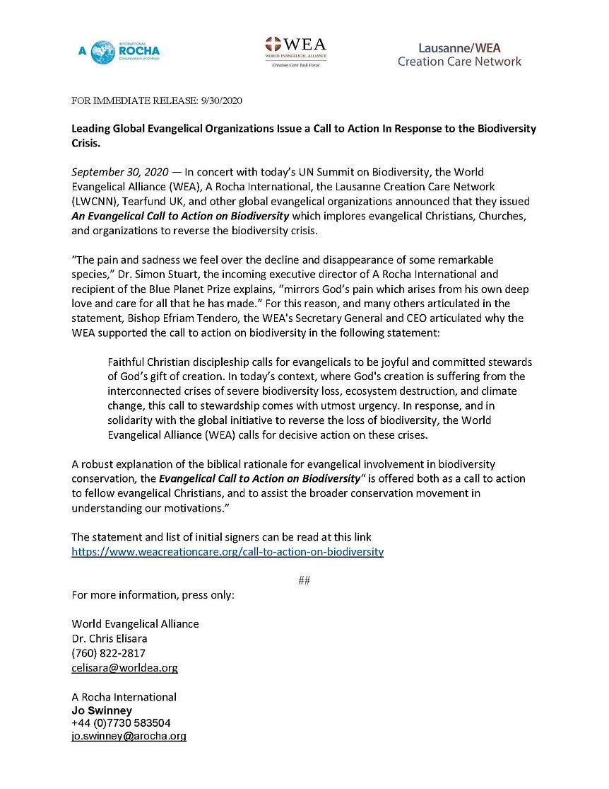 Evangelical Biodiversity Press Release.j